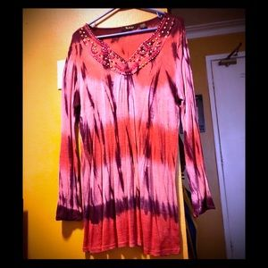 Hand made tie dye beaded top